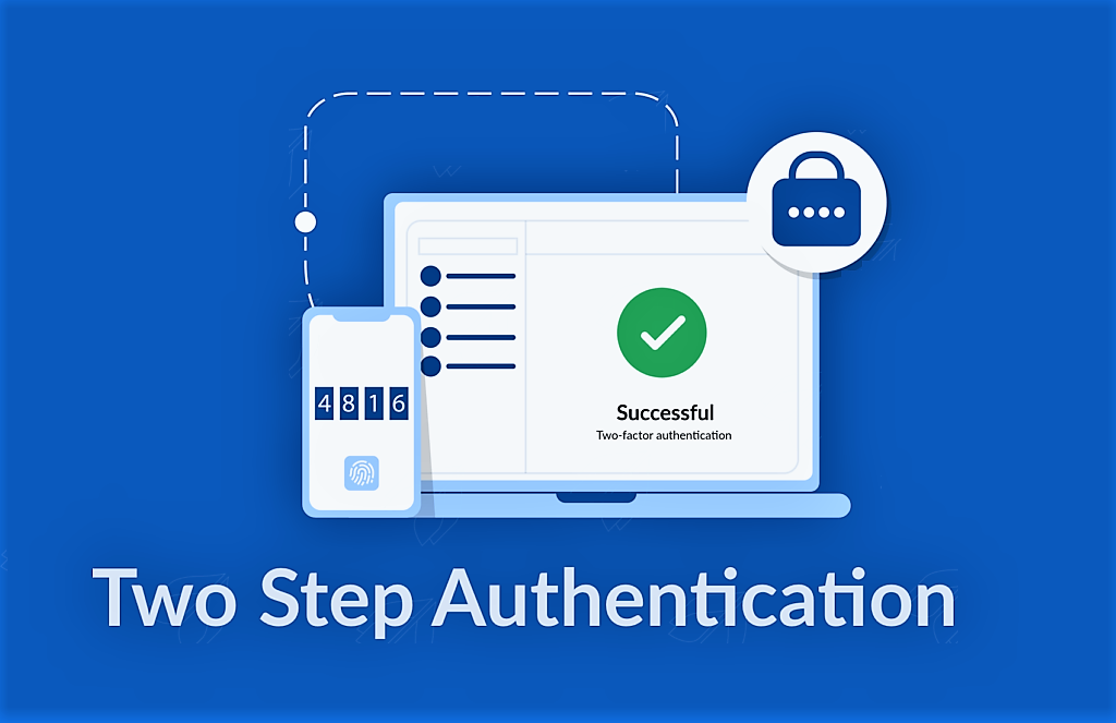 Two step authentication with a phone and a computer